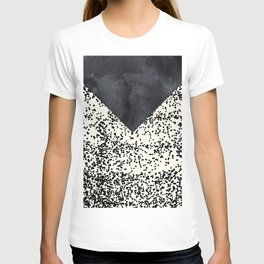 Black ivory confetti watercolor geometrical T-shirt