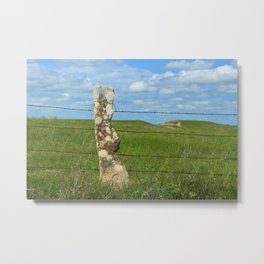 Kansas Stone Post fence in a Pasture with blue sky and white clouds. Metal Print