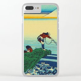 Vintage Japanese Art - Man Fishing Clear iPhone Case