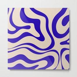 Modern Liquid Swirl Abstract Pattern Square in Cobalt Blue Metal Print