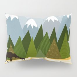 Woodland snowy mountain tops trees and mother moose and baby Pillow Sham