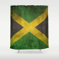 jamaica Shower Curtains featuring Old and Worn Distressed Vintage Flag of Jamaica by Jeff Bartels