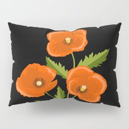 three red poppies on the black Pillow Sham