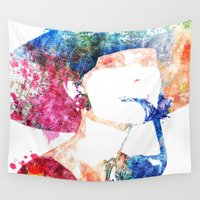 audrey hepburn Wall Tapestries featuring Audrey Hepburn by Heaven7