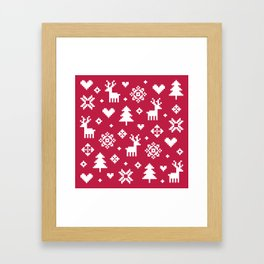 PIXEL PATTERN - WINTER FOREST RED Framed Art Print