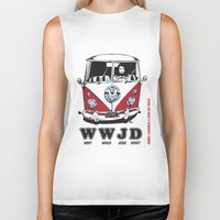 volkswagon Biker Tanks featuring WWJD ?   What  Would Jesus Drive ? by BulldawgDUDE