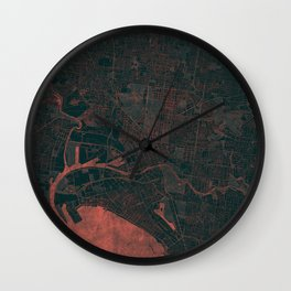 Melbourne Map Red Wall Clock