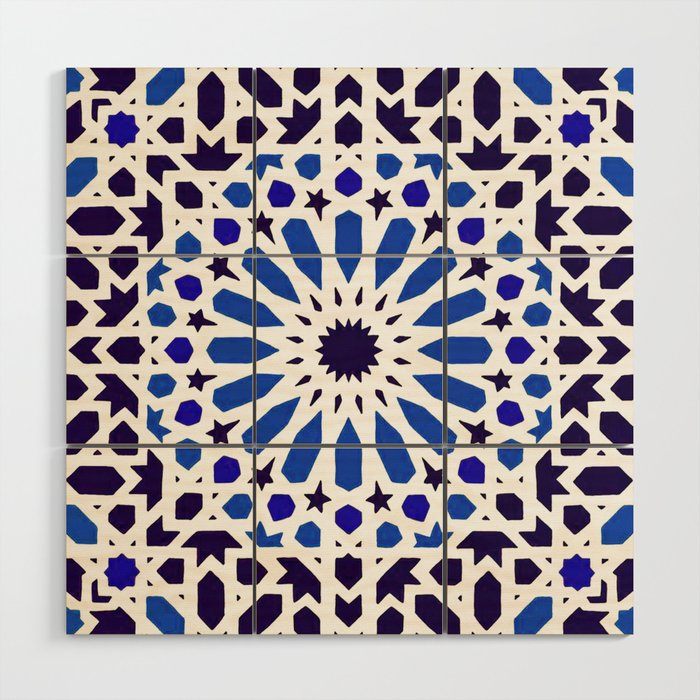 A18 Original Traditional Moroccan Tile Design Wood Wall Art By Arteresting Society6
