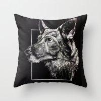 german shepherd Throw Pillows featuring German Shepherd by Ashley Anderson