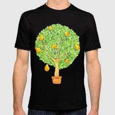 Pear Tree teal MEDIUM Black Mens Fitted Tee