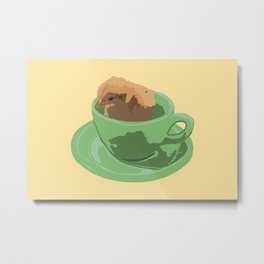 Baby Chick in Jadeite Cup Illustration Metal Print