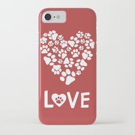 Dog Paw Prints Heart iPhone Case