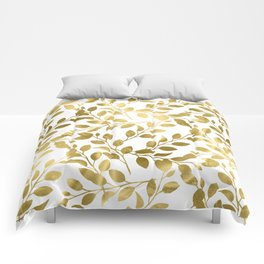 Gold Leaves on White Comforters