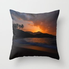 Hawaiian Island Sunset Beach Throw Pillow