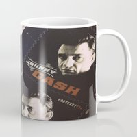 johnny cash Mugs featuring Johnny Cash Stamps by ADH Graphic Design