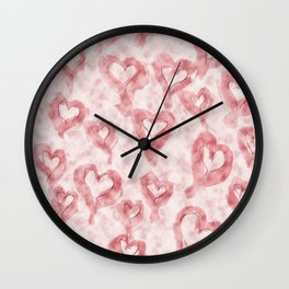 Pink Pastel Hearts on Watercolour Clouds Wall Clock