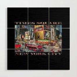 Times Square II (widescreen on black) Wood Wall Art