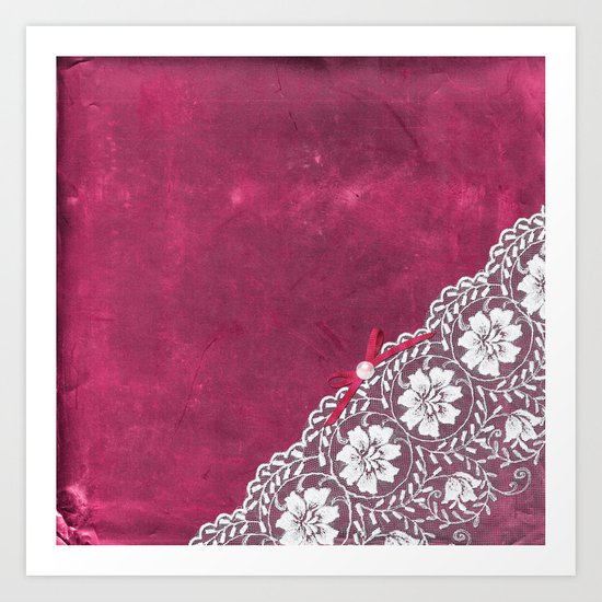 Claire´s treasure - White beautiful lace and pearl on pink grunge backround Art Print