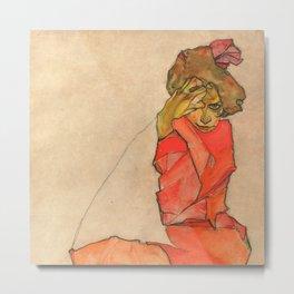 "Egon Schiele ""Kneeling Female in Orange-Red Dress"" Metal Print"