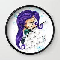 clueless Wall Clocks featuring Stop it, You're making me blush. by Ariana Victoria Rose