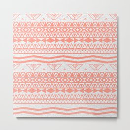Whimsical Neon Coral Pink Abstract Aztec Pattern Metal Print