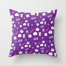 Breakfast in Violet Throw Pillow