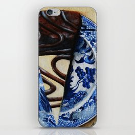Brownie Cheesecake on Blue Willow Plate iPhone Skin