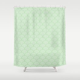 Mint Concentric Circle Pattern Shower Curtain