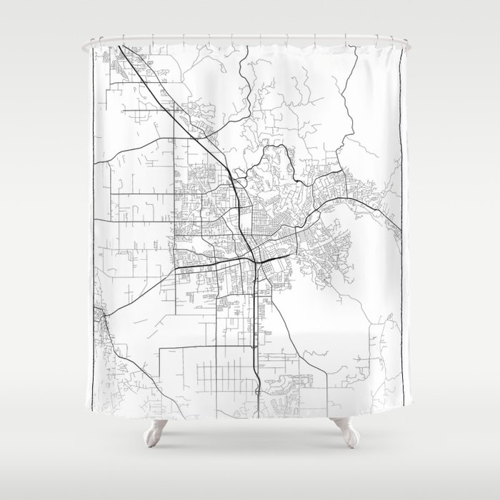 Santa Rosa California Map.Minimal City Maps Map Of Santa Rosa California United States Shower Curtain By Valsymot