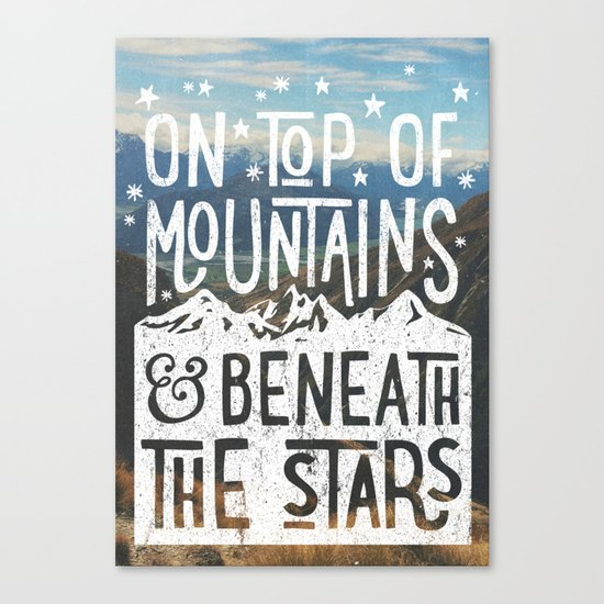 on top of mountain and beneath the stars Canvas Print