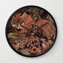 Vintage Fox and Cuba Painting (1909) Wall Clock