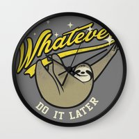 whatever Wall Clocks featuring Whatever by Mathiole
