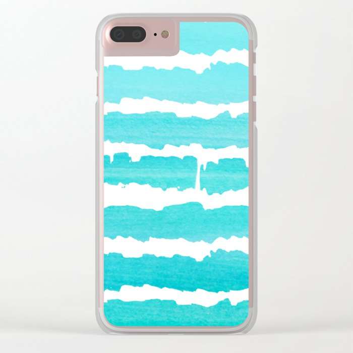 Maritime pattern- Simply aqua handpainted stripes on clear white- horizontal Clear iPhone Case
