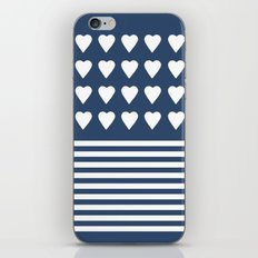 Heart Stripes Navy iPhone Skin