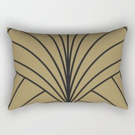 Diamond Series Floral Burst Charcoal on Gold Rectangular Pillow