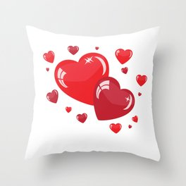Red Hearts Throw Pillow