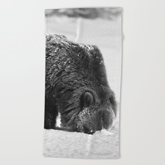 Alaskan Grizzly Bear in Snow, B & W - 2 Beach Towel