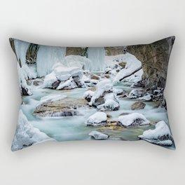 Frozen waterfalls, fairytale landscape, blue frozen water Rectangular Pillow