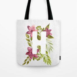 Monogram H with red watercolor flowers and leaves. Floral letter H Tote Bag