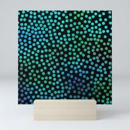 Colorful blue abstract dots Mini Art Print