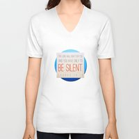 silent V-neck T-shirts featuring SILENT by Peter Gross