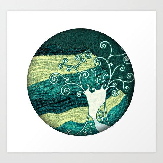 Dreamy night tree Art Print