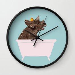 Playful Triceratop in Bathtub Wall Clock
