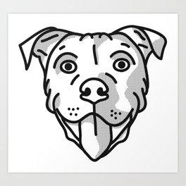 Pitbull Dog Print - black and white halftone Art Print
