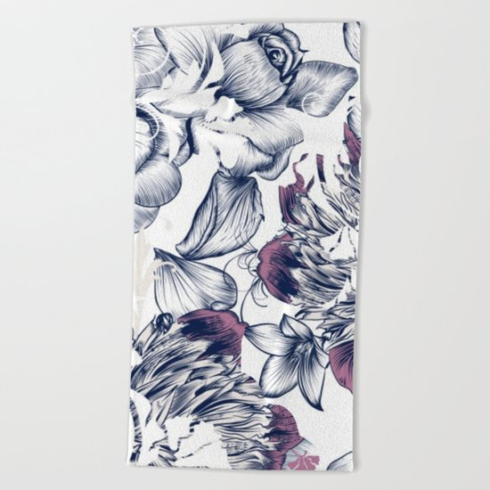 Flowers pattern 2 Beach Towel