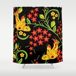 Fish khokhloma Shower Curtain