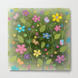 Floral and Butterfly Pattern - Summer Blooms Metal Print