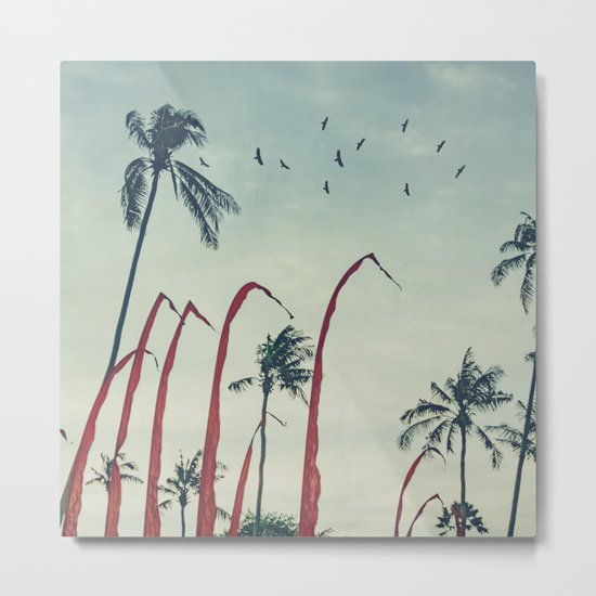 Coconut - Palms and Flags Metal Print