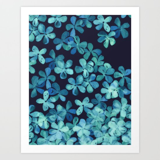 Hand Painted Floral Pattern in Teal & Navy Blue Art Print