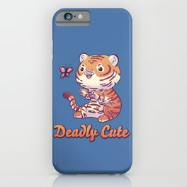Deadly Cute Tiger // Kawaii, Big Cat, Animals iPhone Case